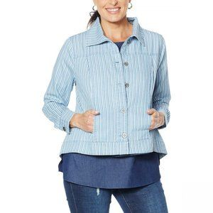 NWT Lightweight Chambray Jacket Small Blue Stripes